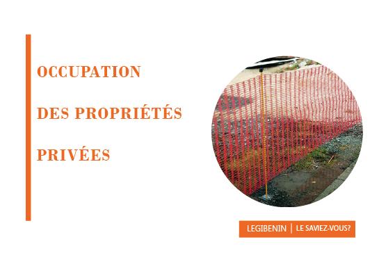occupation temporaire des propriétés privées
