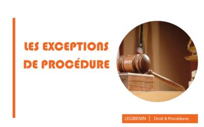 Les exceptions de procédure