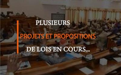 Plusieurs propositions et projets de lois en voie d'étude…